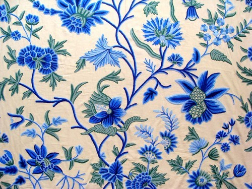Crewel Fabric Cotton Crewel Embroidered Upholstery Fabric Exporter