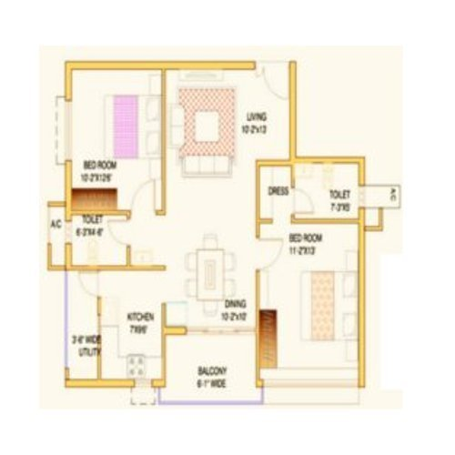 2bhk Sample Flat Layout Plan 1110sq Ft